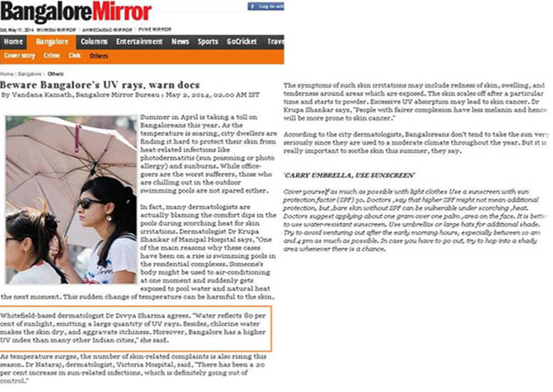Beware banglore UV rays, warn docs